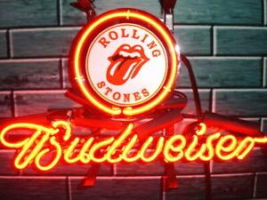 "New Rolling Stones Budweiser Neon Light Sign 14""x10"" Beer Man Cave Artwork Glass"