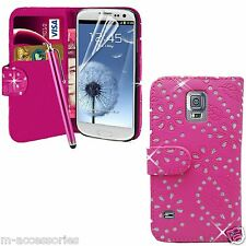 PINK DIAMOND WALLET CASE POUCH PU LEATHER COVER FOR SAMSUNG Galaxy S3 mini i8190
