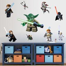 9 adesivi per parete tema lego star wars  50x70cm YODA DARTH VADER LUKE R2D2