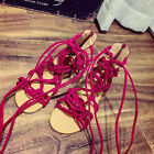 Femme Hauteur Genou Sandales Spartiates Lanière Chaussures Plage Découpe Bottes