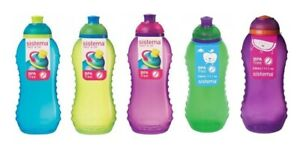 6 Pack Sistema Twister Squeeze 330ml Drink Bottle Small BPA Free assorted colors