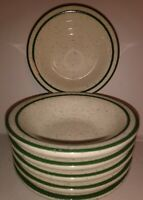 Set of 6 Buffalo China Double Green Stripe Speckle Restaurant Ware Custard Bowls