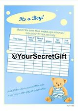 A Baby BOY Shower Game - 2x Guess the Weight/Date/Time/Eyes sheets