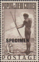 Papua New Guinea 1952 SG15 ₤1 Papuan Fisherman SPECIMEN ovpt MNH