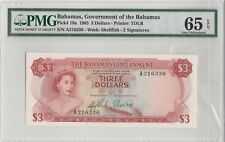 1965 The Bahamas Government Three Dollars PMG  65