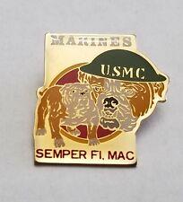 """USMC Pin Bulldogs Marines Hat or Lapel 1 1/4"""" Tall Semper Fi, Mac Jonathan Grey"""