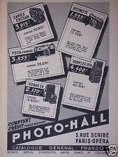 PUBLICITÉ 1953 PHOTO-HALL CAMEX ERCSAM RETINETTE FOCA KODAK 33 - ADVERTISING