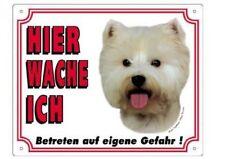 Warntafel 25x20 cm Kunststoff, West Highland Terrier, Hier wache ich, Warnschild