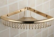 Polished Gold Brass Bathroom Corner Shower Basket Shelves Caddy Storage eba099