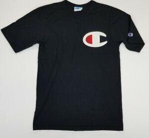 Champion Big C Embroided Logo Black Tee T-shirt Men's Size M    B17