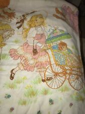 Vintage Sears Roebuck Twin Flat Girls Ribbons Bed Sheet Bedding Linens Fabric