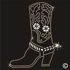 Western cowboy boot strass thermocollants hotfix transfert strass motif appliqué