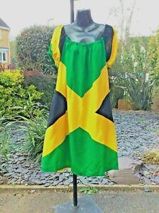 NEW ARRIVAL.....HANDMADE, JAMAICAN FLAG PRINT SMOCK DRESS...14-16