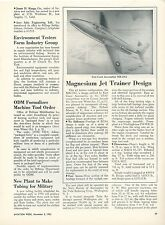 1953 Aviation Article East Coast Aeronautics MX-1962 All Magnesium Jet Trainer