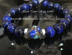 Blue Tiger's Eye Copper Azurite Malachite Beaded Bracelet Sterling Silver 925