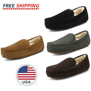 Men's Suede sheepskin fur Slippers Moccasin Slip-on Men Outdoor Causla Loafers