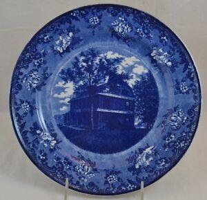 Transferware Dark Blue Staffordshire Pellatt Birthplace of Benjamin West