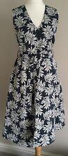 Marks and Spencer per Una Dark Teal Leaf Print Lined Pocket Dress Size 20
