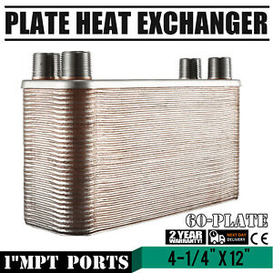 """60 Plate Brazed Plate Heat Exchanger Oil Cooling Outdoor Wood Boiler 4-1/4""""x12"""""""