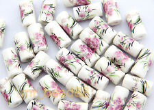 8Pcs Cylindrical Pink Peony Pattern Ceramic Porcelain Loose Beads 9x17mm New