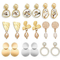 NEW Fashion Women Pearl Geometric Pendant Dangle Drop Statement Earrings Jewelry