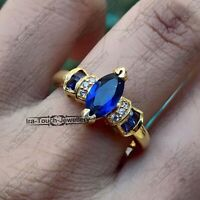 1.30Ct Marquise Cut Blue Diamond Engagement Women Ring 14k Yellow Gold Over