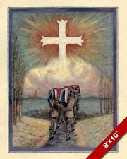 FLANDERS FIELDS CARRYING THE DEAD WWI WORLD WAR 1 ART PAINTING REAL CANVAS PRINT