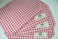 WAVERLY 4 GARDEN CHECK Gingham Pink WATERMELON Placemats COTTON Cushioned USA
