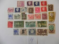 LOT OF 27 CANCELED CANADIAN STAMPS ( 1/10 POUND TO 20 CENTS )
