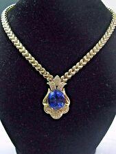 "Fine Gem Tanzanite & Diamond Yellow Gold Necklace 17"" 20.52Ct AAAA/VS"