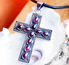 Riesig Groß Kreuz Anhänger 8 x 5 cm Silber Granat Handarbeit Kettenanhänger Rot