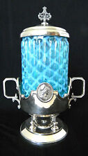 Antique NORTHWOOD OPALESCENT LATTICE BLUE GLASS CELERY/PICKLE INSERTw/ SP HOLDER