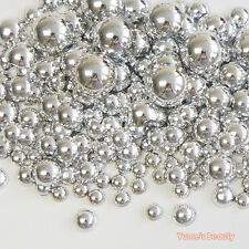 500 Metallic Silver Mixed 3-8mm Half Pearl Round Flatback Scrapbook Nail Craft