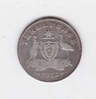 1912 Australia Sterling Silver Threepence 3p Coin N-107