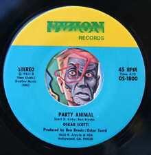 HEAR Oskar Scotti 45 Party Animal/Conscience Of Man M- minimal synth new wave
