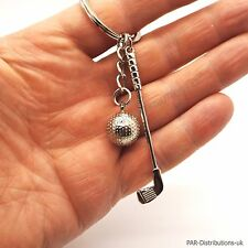 Golf Club & Ball Tee Hole In One Keyring Key Ring One Under Par Fathers day gift