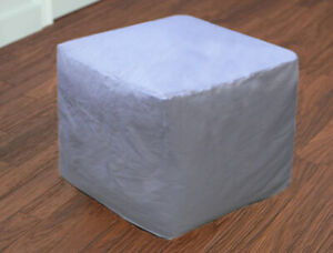 "18"" Square White Plain Ottoman Pouf Cover Footstool Seat Indian Handmade Cotton"