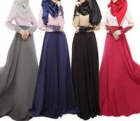 Women Kaftan Abaya Dress Muslim Islamic Jilbab Long Sleeve Maxi Dress 4 Color