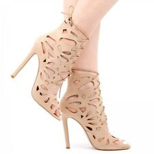 Ego Paige Scalloped Edge Cut Out Heels In Nude Faux Suede. Size UK 7