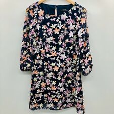 Kensie Womens Size 8 3/4 Split Sleeve A Line Dress Floral Blue Pink Keyhole