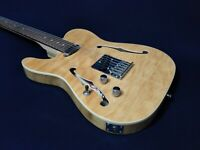 Haze HSTL-1901-2FH-QNL Semi-Hollow Left-Handed Electric Guitar,Quilted Natural