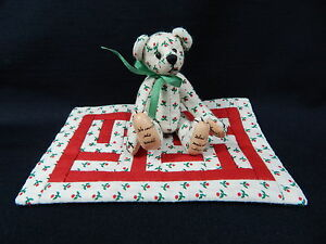 "World of Miniature Bears By Theresa Yang 3"" Cotton Bear w/quilt #485 CLOSING"