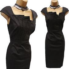 Karen Millen Negro Algodón Plisado Vestido Lápiz para Cóctel Oficina crucero Wiggle km 10
