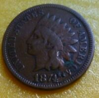 1874  Indian Head Penny Cent  Coin  #1874