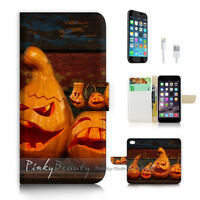( For iPhone 7 Plus ) Wallet Case Cover P2670 Halloween Pumpkin
