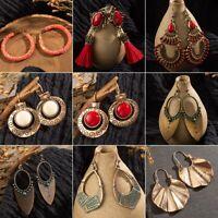 Vintage Womens Bohemian Boho Beads Tassel Dangle Tribal Earrings Tibetan Jewelry