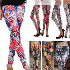 Flag Costume Floral Goth Punk Rock Styled Printed Jegging Legging Stretchy Pants
