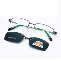 Magnetic Clip-on Polarized Sunglasses Half Rimless Eyeglass Frames Retro KFA652