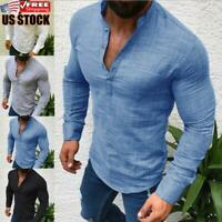 Men's V Neck Long Sleeve Shirt Casual Slim Fit Muscle Tee T-Shirt Blouse Tops