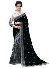Indian Women's New Latest Party Wear Embroidery Designer Silk and Net Saree
